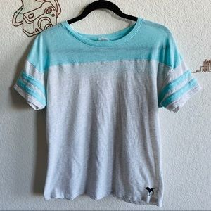 PINK Victoria's Secret Short Sleeve Blue Gray Top